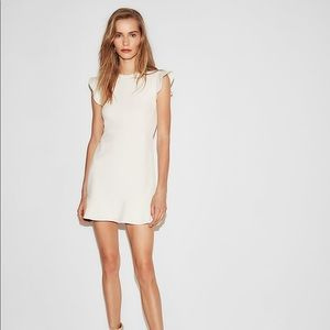 EXPRESS White Fit and Flare Ruffle Dress